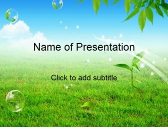 Spring, grass and sky Free PowerPoint Template