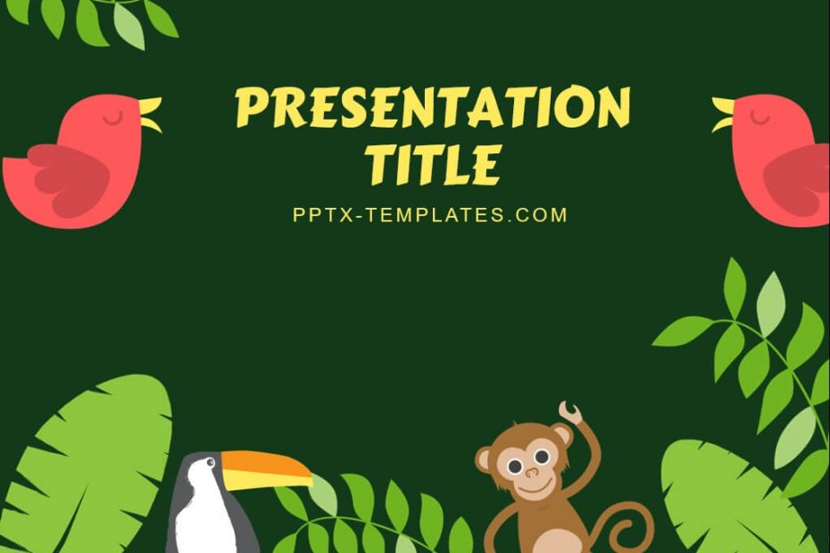 Jungle and tropical animals with plants