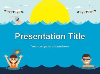 Swimming, kids, sun, sea, PowerPoint Template,