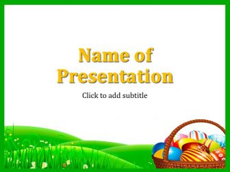 Easter and eggs in a basket Free PowerPoint Template
