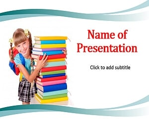 Schoolgirl and books Free PowerPoint Template