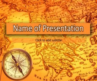 Old map and compass Free PowerPoint Template