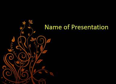 Floral krausens on a black background Free PowerPoint Template