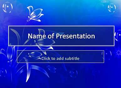 Blue background and flowers Free PowerPoint Template