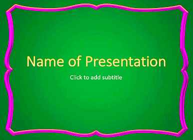 Green background with frame Free PowerPoint Template