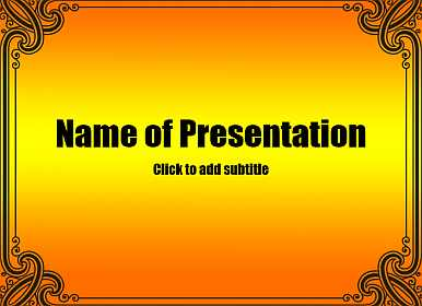 Orange background with frame Free PowerPoint Template