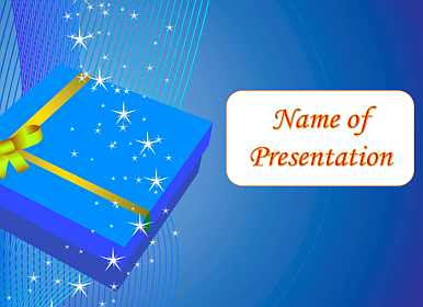 Stars and a box with a gift Free PowerPoint Template