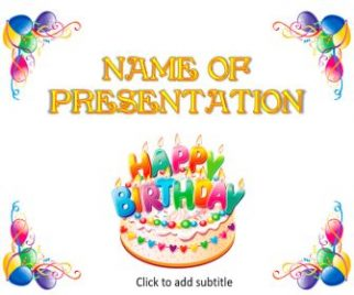 Birthday Cake and Balloons Free PowerPoint Template