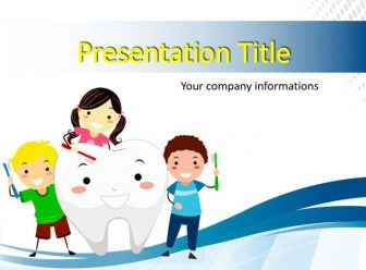 Kids Brushing a Tooth Free PowerPoint Template