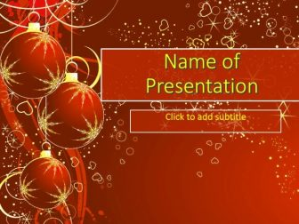 Christmas Balls on the red background Free PowerPoint Template