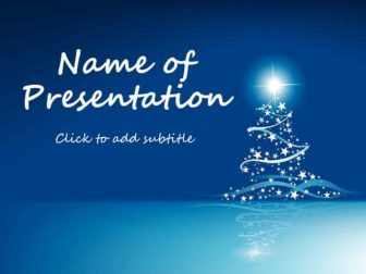 Blue New Year background with Christmas Tree Free PowerPoint Template