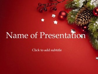 New Year balls, cones and fir-tree Free PowerPoint Template