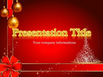 Gold Letters and New Year Tree Free PowerPoint Template