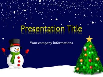 Snowman and New Year Tree Free PowerPoint Template