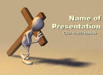 Man Carrying Cross of Christ Free PowerPoint Template