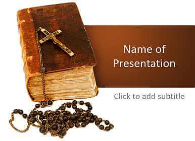 Bible and rosary Free PowerPoint Template