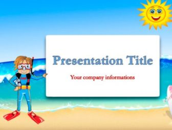 Beach and diver Free PowerPoint Template